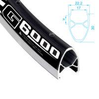 Alexrims - G6000 noir 700 arrière roue libre Écrou