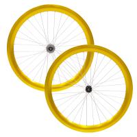 DamcoEnsemble de roues ''Single Speed'' 50mm Or anodisé